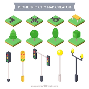 Collection of isometric elements to decorate your city