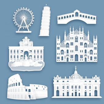 Collection of italy famous landmarks in paper cut style