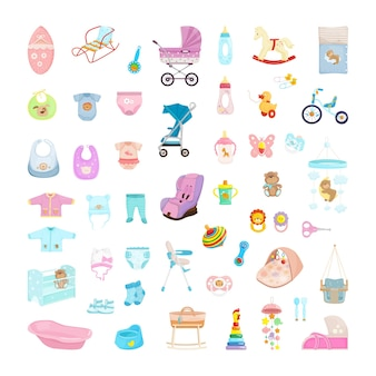 Collection of items for babies. toys, cribs, clothes and strollers for newborns.