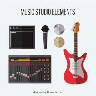 Collection of items related to a music studio