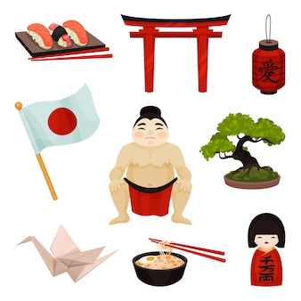 Collection of japanese souvenirs and accessories..  illustration on white background.