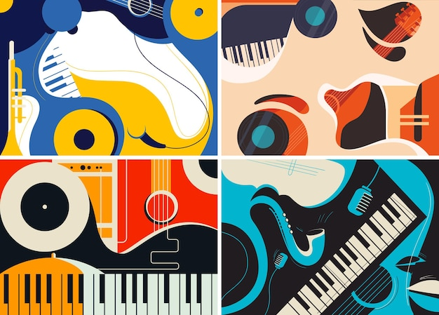 Collection of jazz templates in flat design.