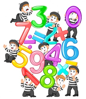 The collection of the jelly number and math tools with the pantomime