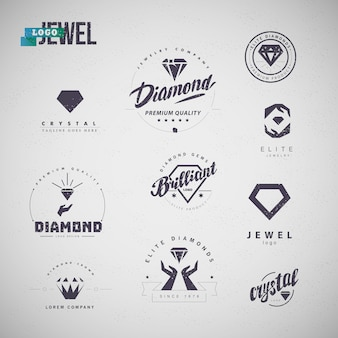 Collection of jewelry industry  emblems with diamond silhouettes, human hands, text isolated