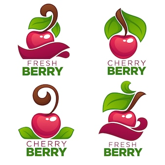 Collection of juice stickers and cherry berry logo, symbols and emblems