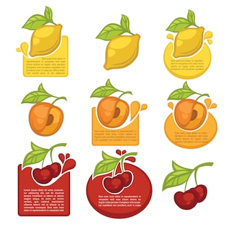 Collection of juice stickers and fruit symbols