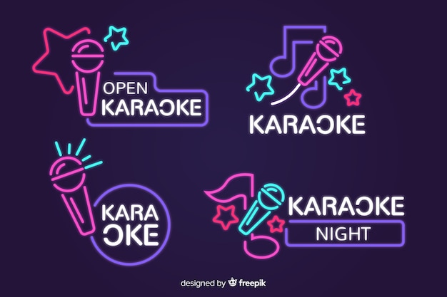 Collection of karaoke neon lights Vector | Free Download