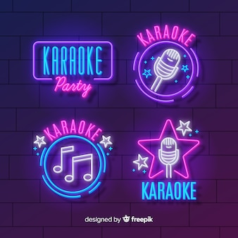 Collection of karaoke neon lights Premium Vector