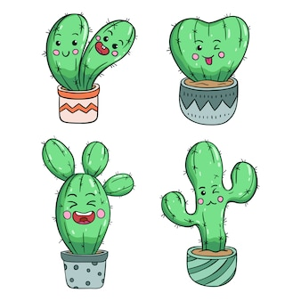Collection of kawaii cactus with funny expression