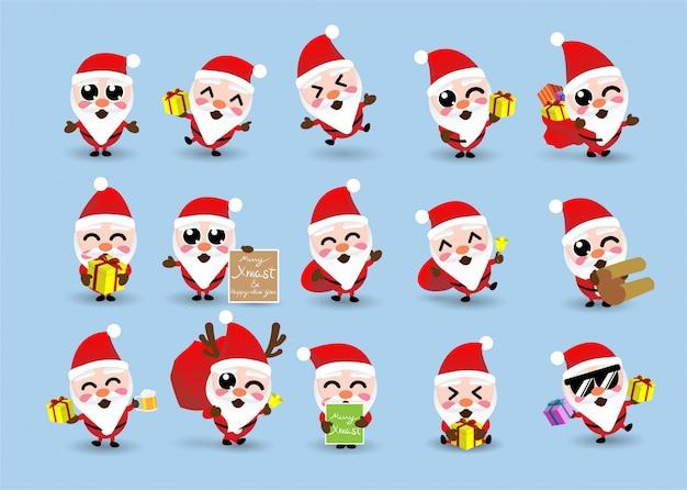 Collection of kawaii cute christmas santa claus,happy new year