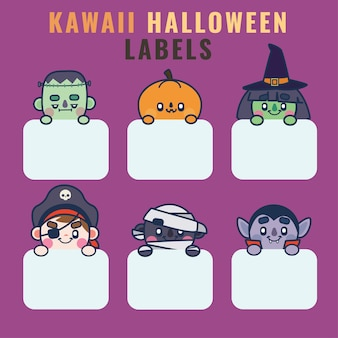 Collection of kawaii halloween labels