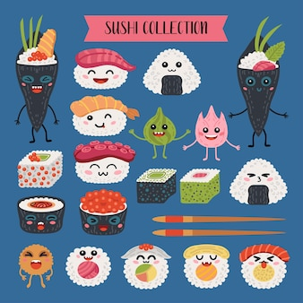 Collection of kawaii rolls and sushi cartoon characters.