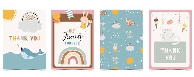 Collection of kid postcard set with bear, rainbow, sun.editable vector illustration for website, invitation,postcard and sticker Premium Vector