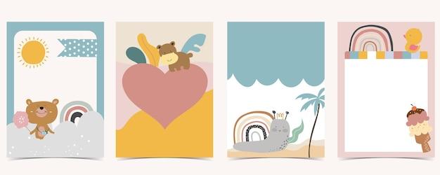 Collection of kid postcard set with bear, rainbow, sun.editable vector illustration for website, invitation,postcard and sticker