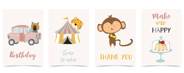 Collection of kid postcard set with car,monkey, cake.editable vector illustration for website, invitation,postcard and sticker