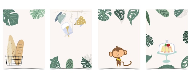 Collection of kid postcard set with leaf,monkey, cake.editable vector illustration for website, invitation,postcard and sticker
