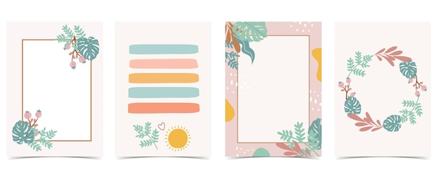 Collection of kid postcard set with leaf, sun.editable vector illustration for website, invitation,postcard and sticker