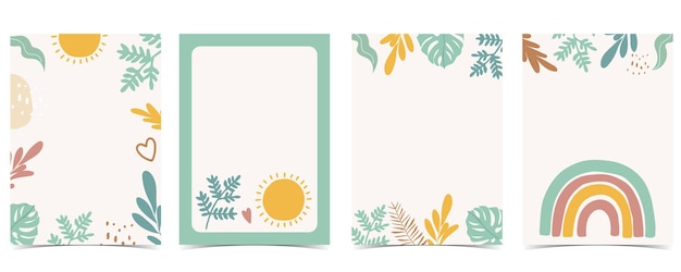 Collection of kid postcard set with leafrainbow sun