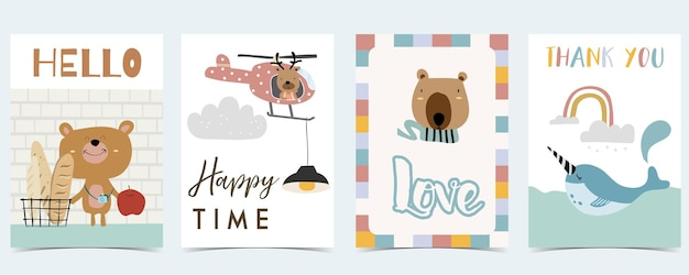 Collection of kid postcard set with rainbow,bear, narwhal.editable vector illustration for website, invitation,postcard and sticker