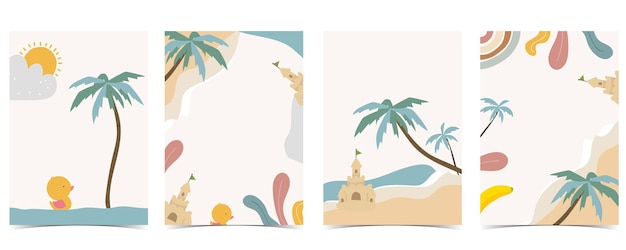 Collection of kid postcard set with sea,beach, sun.editable vector illustration for website, invitation,postcard and sticker