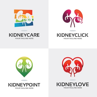 Collection of kidney logo set design template