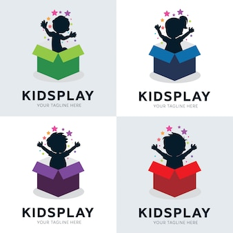 Collection of kids play in box logo designs template
