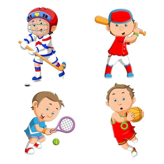 The collection of kids playing various sport of illustration