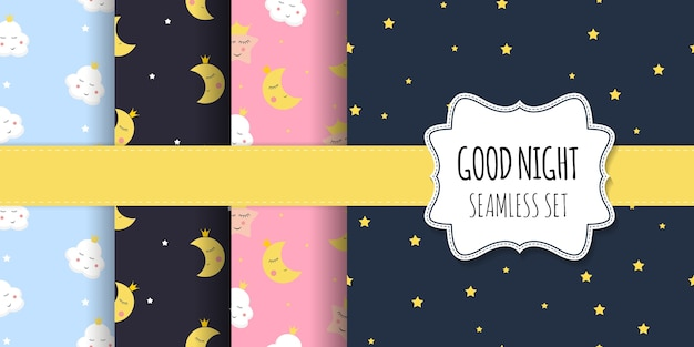 Collection of kids seamless pattern with cute night stars, moon and cloud.