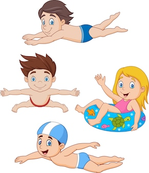 Collection of kids swimming collection set