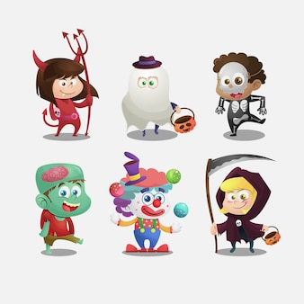 Collection of kids with halloween costumes