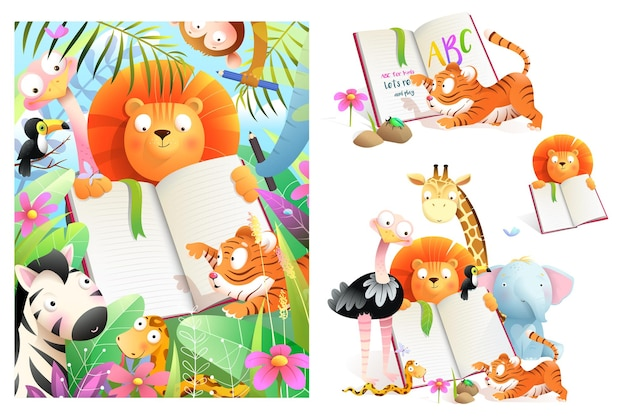 Collection of kids zoo animals studying reading book and writing at school