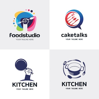 Collection of kitchen logo set design template