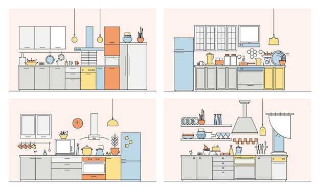Collection of kitchens full of modern furniture, household appliances, cookware, cooking facilities and home decorations. set of elegant interiors drawn in line art style. vector illustration.