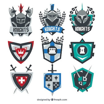 Collection of knight emblem templates
