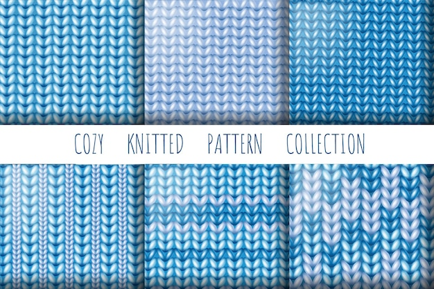 Collection of knitted wool, seamless patterns