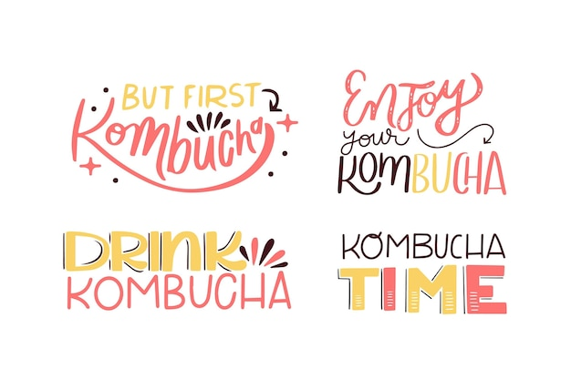 Collection of kombucha tea lettering