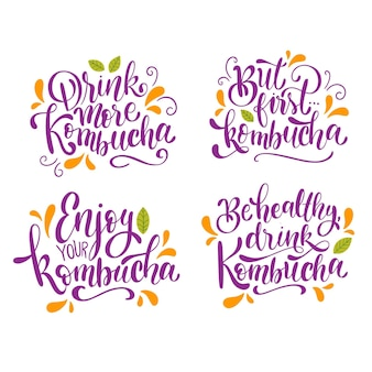 Collection of kombutcha tea lettering