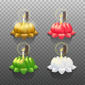 Collection of krathong in multiple color on transparent