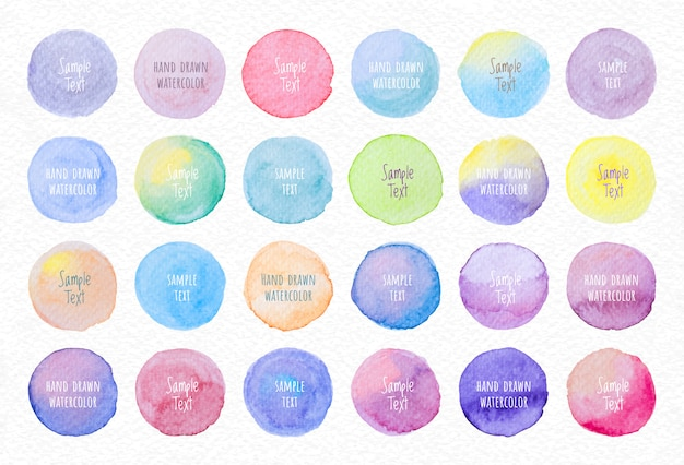 Collection label tag elements set watercolor brush paint strokes circle shape from a hand drawn on the white paper texture background.