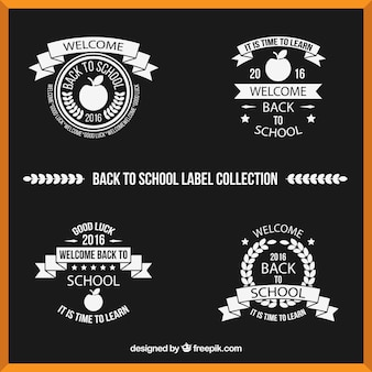 Collection of labels in black and white for back to school