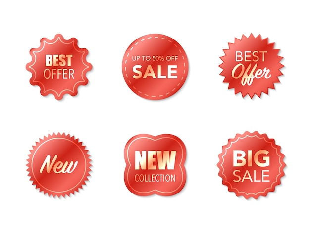Collection of labels isolated on white background
