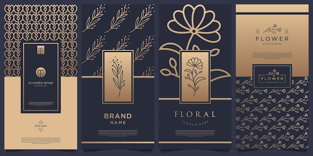 Collection of labels packaging template design. luxury products for perfume, soap, wine, lotion.