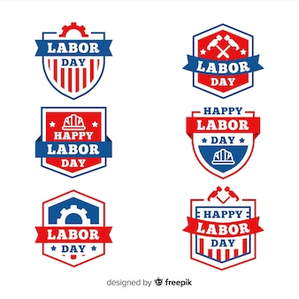 Collection of labor day badges flat design