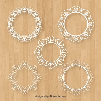 Collection of lace frame in flat design