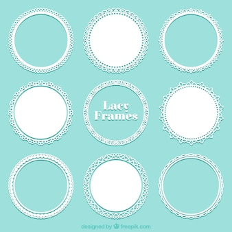 Collection of lace round frame