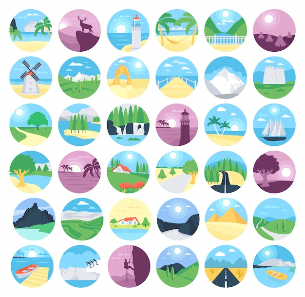 Collection of landscapes icons