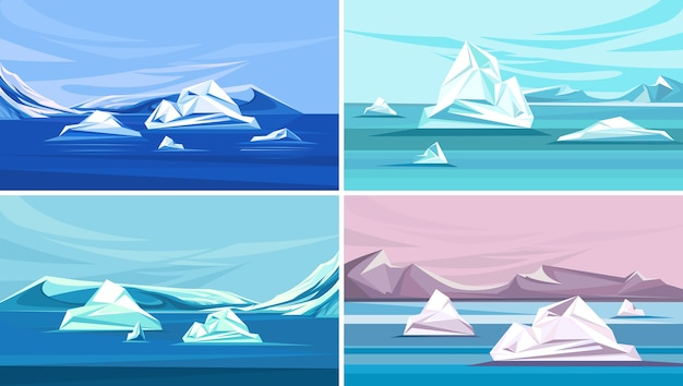 Collection of landscapes with melting ice. north pole scenery.