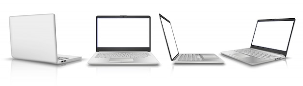 Collection of laptop in side, front, back view. illustration
