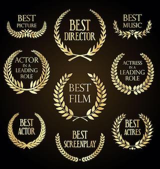 Collection of laurel wreath film award luxury template design