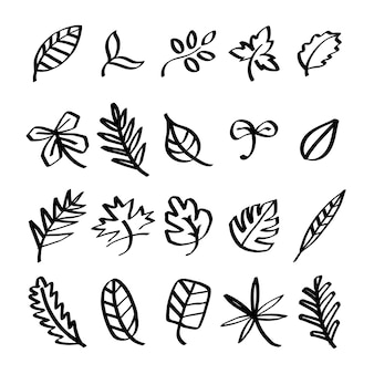 Collection of leaf doodles illustration